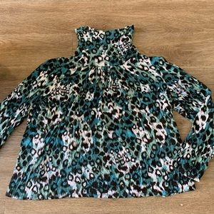 Vintage XL Blue Cheetah Print Crop L/S Turtleneck